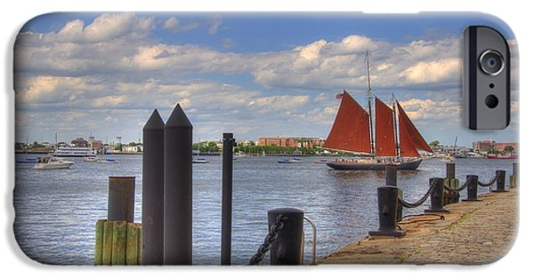 Windjammer iPhone Cases - Tall Ship The Roseway in Boston Harbor iPhone Case by Joann Vitali