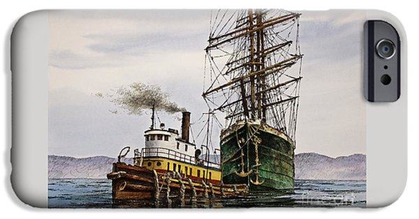 Tall Ship iPhone Cases - Tall Ship Tugboat Assist iPhone Case by James Williamson