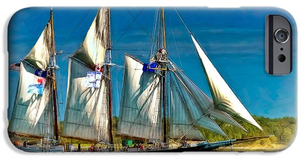 Tall Ship Digital Art iPhone Cases - Tall Ship vignette iPhone Case by Steve Harrington