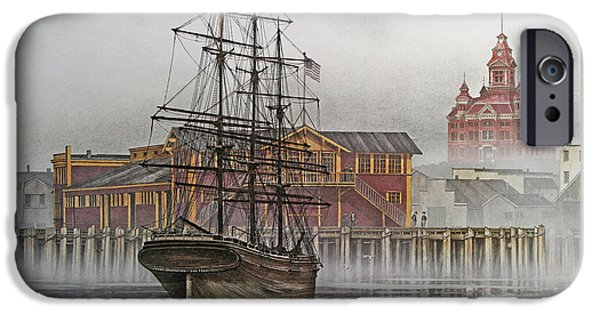 Sailing Ship Framed Prints iPhone Cases - Tall Ship Waterfront iPhone Case by James Williamson