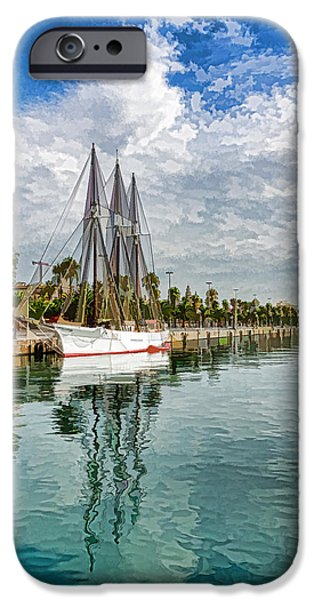Tall Ship iPhone Cases - Tall Ships and Palm Trees - Impressions of Barcelona iPhone Case by Georgia Mizuleva