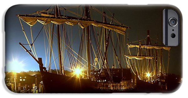Constitution iPhone Cases - Tall Ships iPhone Case by Debra Forand