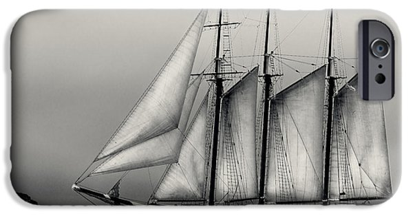 Tall Ship Pyrography iPhone Cases - Tall Ships Sailing boat iPhone Case by Peter v Quenter