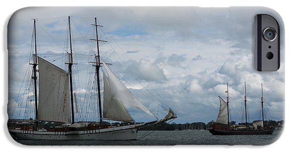 Tall Ship iPhone Cases - Tall Ships Sailing in the Harbor iPhone Case by Georgia Mizuleva