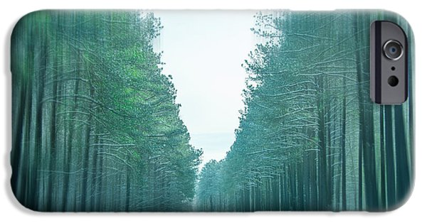 Buy iPhone Cases - Tall Trees Along The Icy Roadway iPhone Case by Kathy Liebrum Bailey