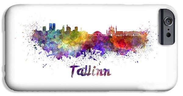 Tallinn iPhone Cases - Tallinn skyline in watercolor iPhone Case by Pablo Romero