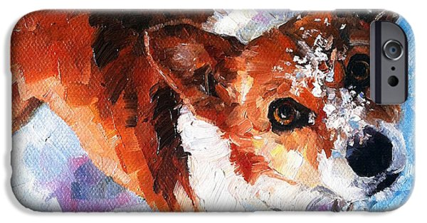 Dogs In Snow. Paintings iPhone Cases - Tally in the Snow iPhone Case by Kristy Tracy
