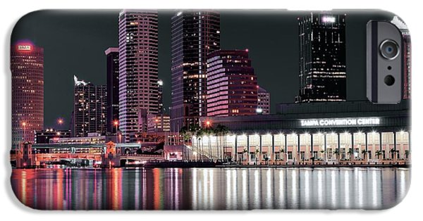 Magic Kingdom iPhone Cases - Tampa Bay Black Night iPhone Case by Frozen in Time Fine Art Photography