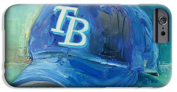 Baseball Art Paintings iPhone Cases - Tampa Bay Rays iPhone Case by Lindsay Frost