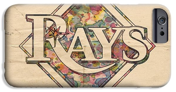 Devil Ray iPhone Cases - Tampa Bay Rays Vintage Art iPhone Case by Florian Rodarte