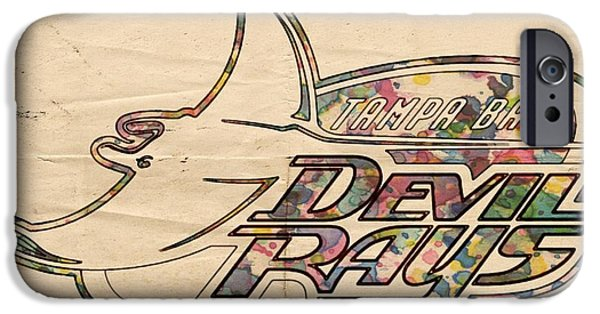 Devil Ray iPhone Cases - Tampa Bay Rays Vintage Logo iPhone Case by Florian Rodarte