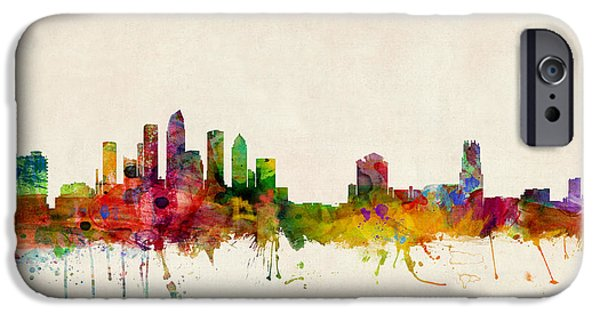 United States iPhone Cases - Tampa Florida Skyline iPhone Case by Michael Tompsett