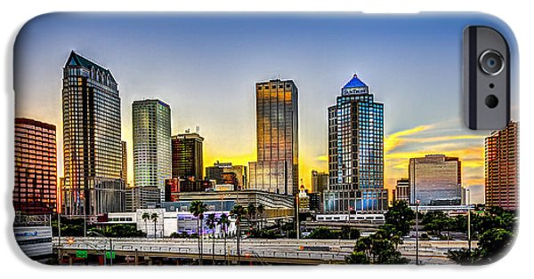 Blue Sky Reflection iPhone Cases - Tampa Skyline iPhone Case by Marvin Spates