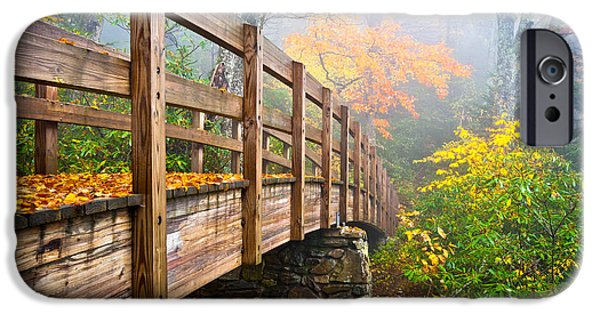 Leaf Change iPhone Cases - Tanawha Trail Foot Bridge - Rough Ridge Autumn Foliage NC iPhone Case by Dave Allen