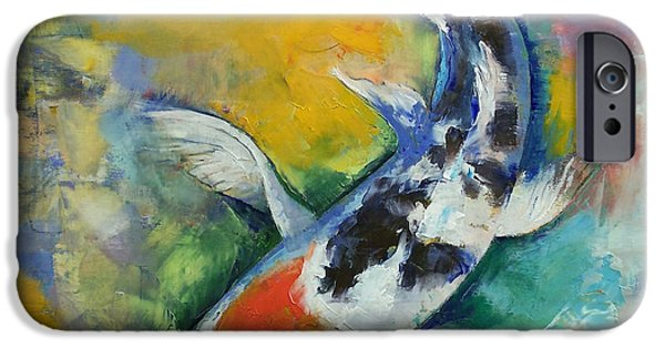Butterfly Koi iPhone Cases - Tancho Sanke Koi iPhone Case by Michael Creese
