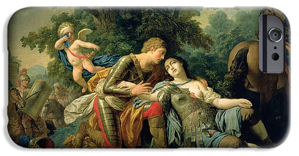 First Love iPhone Cases - Tancred And Clorinda, 1761 Oil On Canvas iPhone Case by Louis Jean Francois I Lagrenee