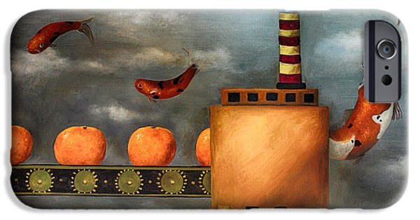 Tangerines Paintings iPhone Cases - Tangerine Dream edit 2 iPhone Case by Leah Saulnier The Painting Maniac