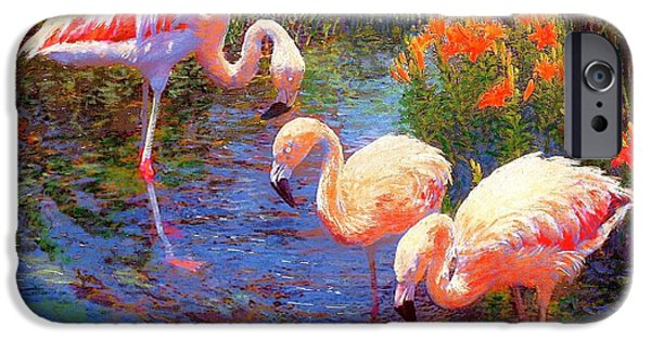 Tropical Paintings iPhone Cases - Tangerine Dream iPhone Case by Jane Small