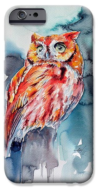 Tangerines Paintings iPhone Cases - Tangerine owl  iPhone Case by Kovacs Anna Brigitta