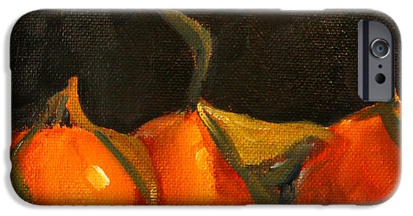 Tangerines Paintings iPhone Cases - Tangerine Party iPhone Case by Nancy Merkle