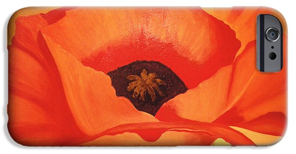 Tangerine Paintings iPhone Cases - Tangerine Poppy iPhone Case by Linda Hiller