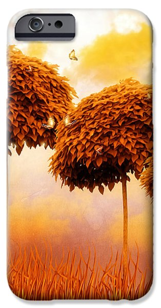 Tangerine Trees and Marmalade Skies iPhone Case by Mo T