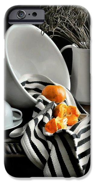 White Cloth iPhone Cases - Tangerines iPhone Case by Diana Angstadt