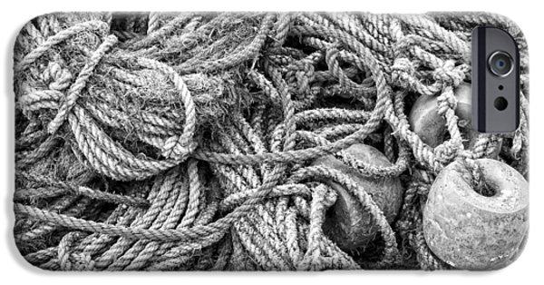 Down East iPhone Cases - Tangled Rope On Dock in Maine iPhone Case by Keith Webber Jr