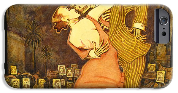 Component Paintings iPhone Cases - Tango en la Plaza de Mayo iPhone Case by Ruth Hooper