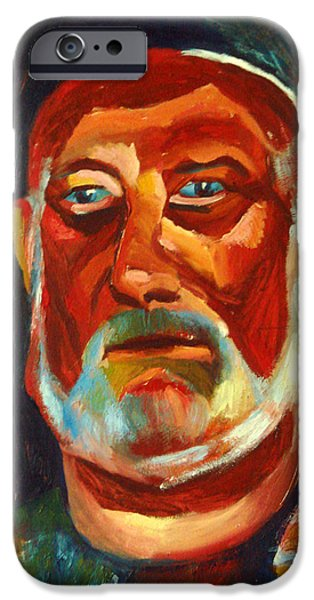Old Man With Beard iPhone Cases - Tanned man with a gray beard iPhone Case by Eva Kryshtapovich