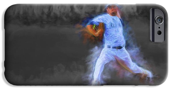 Painter Photographs iPhone Cases - Tanner Tully Elkhart Central Blazers Pitches The Winning Game Champs 2013 iPhone Case by David Haskett