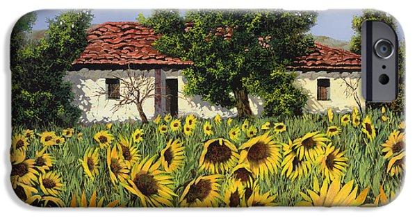 Sunflower iPhone Cases - Tanti Girasoli Davanti iPhone Case by Guido Borelli