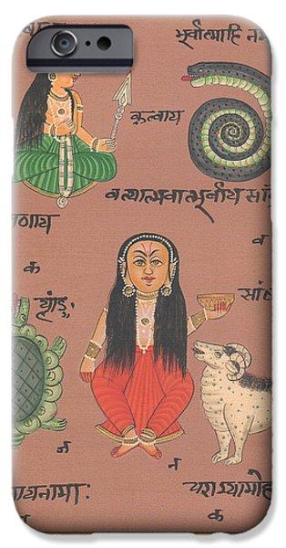 Tantrik Art iPhone Cases - Tantra Yantra Artwork Miniature Painting India Vedic Artwork Goddess Santoshi ma iPhone Case by A K Mundhra