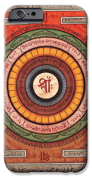 Hindu Goddess iPhone Cases - Tantra Yantra Handmade Sanskrit Calligraphy Devnagri Hindu Yoga Meditation iPhone Case by A K Mundhra
