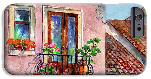 Sicily Paintings iPhone Cases - Taormina Balcony iPhone Case by Kathleen  Gwinnett