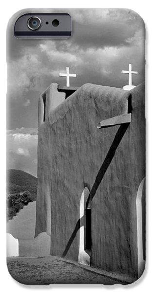 Pueblo Architecture iPhone Cases - Taos Pueblo Church iPhone Case by David and Carol Kelly