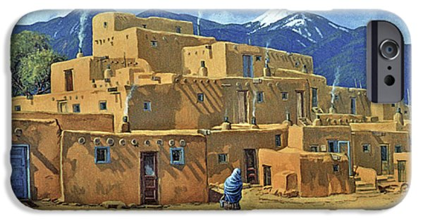 Randy iPhone Cases - Taos Pueblo iPhone Case by Randy Follis