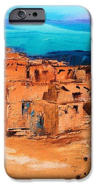 Taos Pueblo Village iPhone Case by Elise Palmigiani
