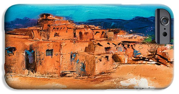 Sectioned iPhone Cases - Taos Pueblo Village iPhone Case by Elise Palmigiani