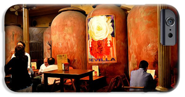 Table Wine Digital Art iPhone Cases - Tapas at Casa Morales iPhone Case by Mary Machare