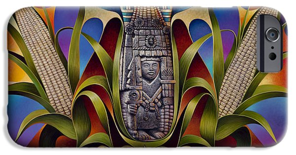 Deities iPhone Cases - Tapestry of Gods - Chicomecoatl iPhone Case by Ricardo Chavez-Mendez