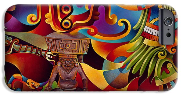 Deities iPhone Cases - Tapestry of Gods - Huehueteotl iPhone Case by Ricardo Chavez-Mendez