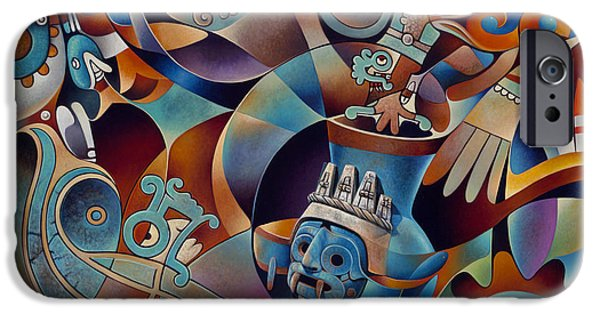 Deities iPhone Cases - Tapestry of Gods - Tlaloc iPhone Case by Ricardo Chavez-Mendez