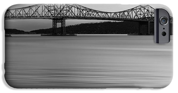 United States iPhone Cases - Tappan Zee Bridge Sunset BW iPhone Case by Susan Candelario