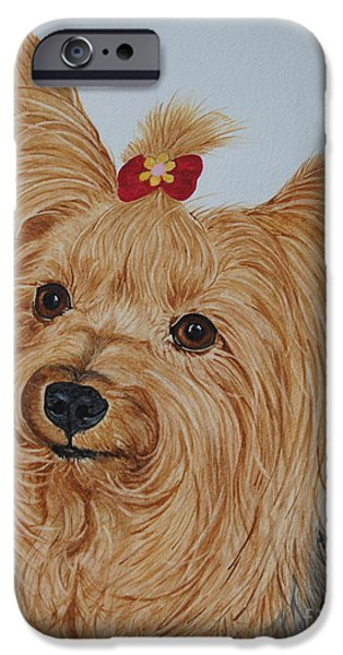 Yorkshire Terrier Watercolor iPhone Cases - Tara iPhone Case by Megan Cohen