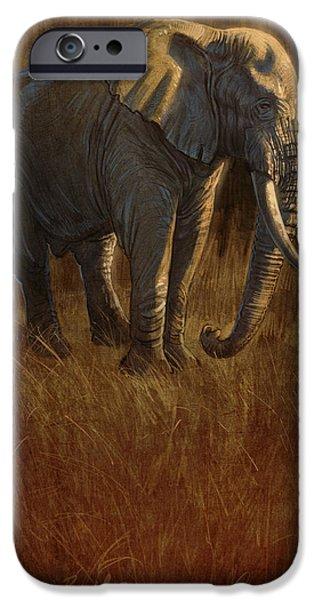 Elephants Digital iPhone Cases - Tarangire Bull 2 iPhone Case by Aaron Blaise
