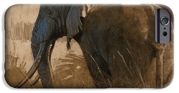 Elephants iPhone Cases - Tarangire Bull iPhone Case by Aaron Blaise