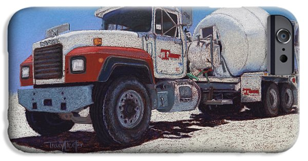 Plant Pastels iPhone Cases - Tarbet Cement Truck iPhone Case by Tracy L Teeter