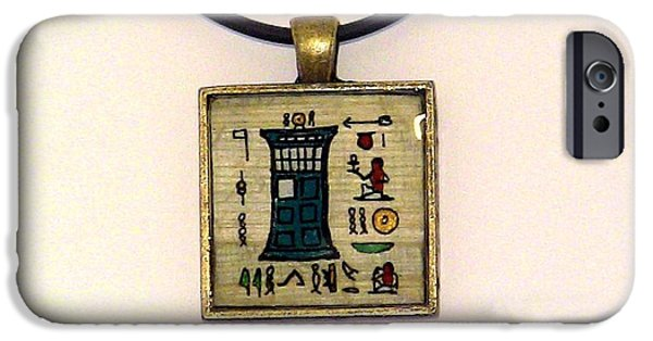 Dr Who iPhone Cases - TARDIS Faux Artifact Miniature Painting on Papyrus Mounted in Pendant iPhone Case by Pet Serrano