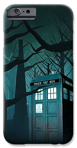 Police iPhone Cases - Tardis Forest iPhone Case by Koko Priyanto